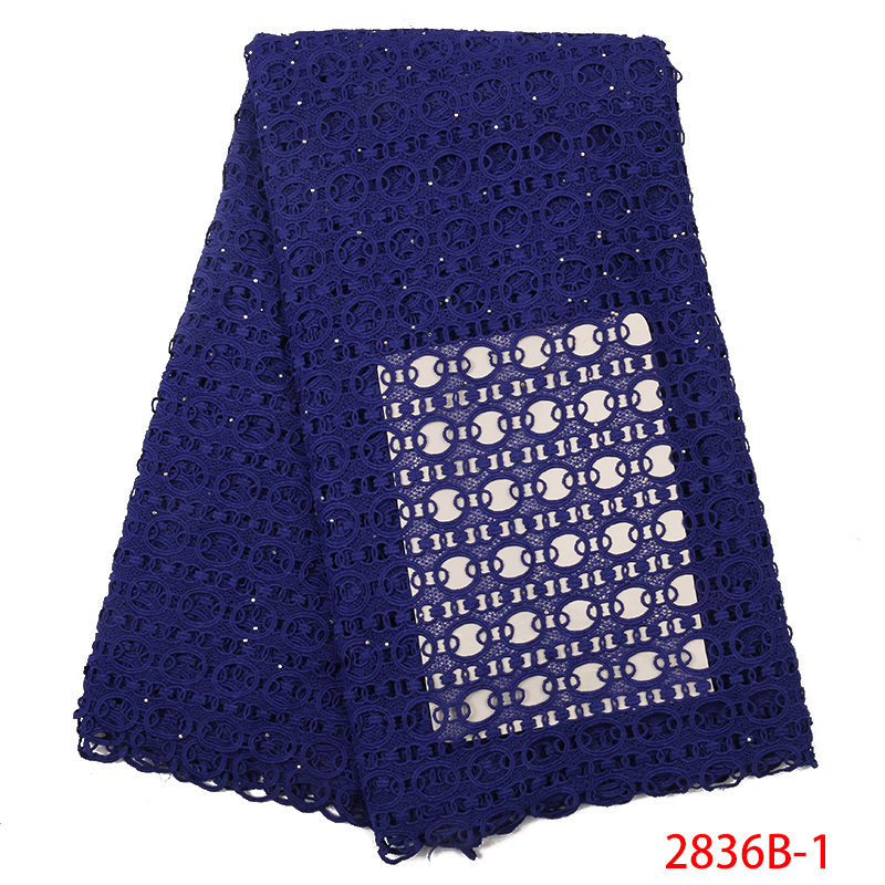 Blue African Mesh Fabric Lace New Arrival African Cord Laces Guipure Lace Fabric With Stones For Women Dresses 5yards KS2836B-1