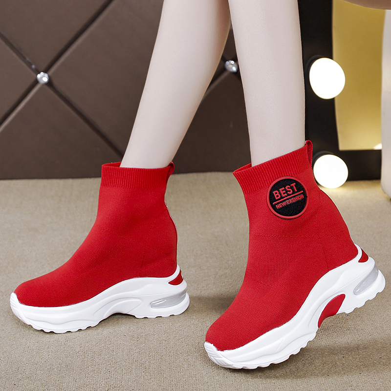 Rimocy Hidden Heels Chunky Platform Sneakers Women Breathable Knitting Thick Bottom Sock Shoes Woman Slip On Black Boots Female