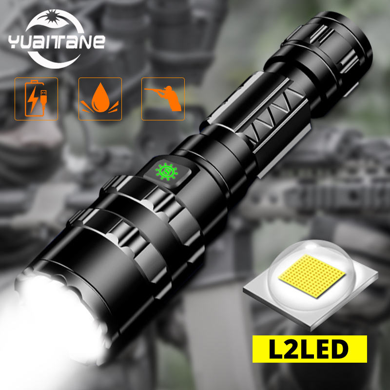 Most Powerful LED Tactical Flashlight Ultra Bright USB Rechargeable Waterproof Scout Light Torch Hunting Light 5Modes By 1*18650