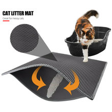 Cat Litter Mat Filter Feeding Mats EVA Black/Grey Protect Floor Nonslip Waterproof Dog Pet Supplies Rug Double Layer Durable bricks wall print nonslip floor rug