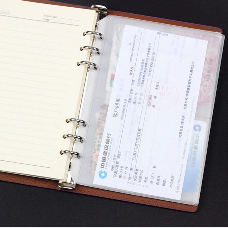 10Pcs Transparent Storage Card Holder A5A6 A7 Binder Rings Notebook 6 Hole Card Storage Planner Organizer Planner Accessories