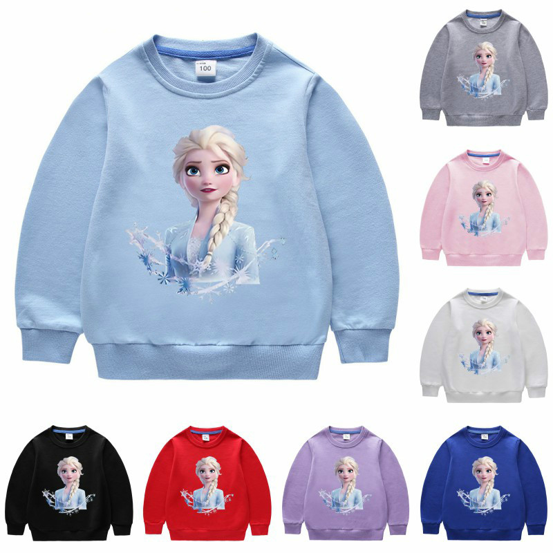 Girls Kids Frozen Anna Elsa Princess Cartoon Sweatshirt Hoodies Casual Costumes