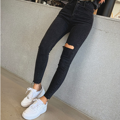 Jeans Female 2020 Korean Version Was Thin Net Red With The Same Pocket Valgus Color Buckle Wild Straight Pants Nine Points Pants