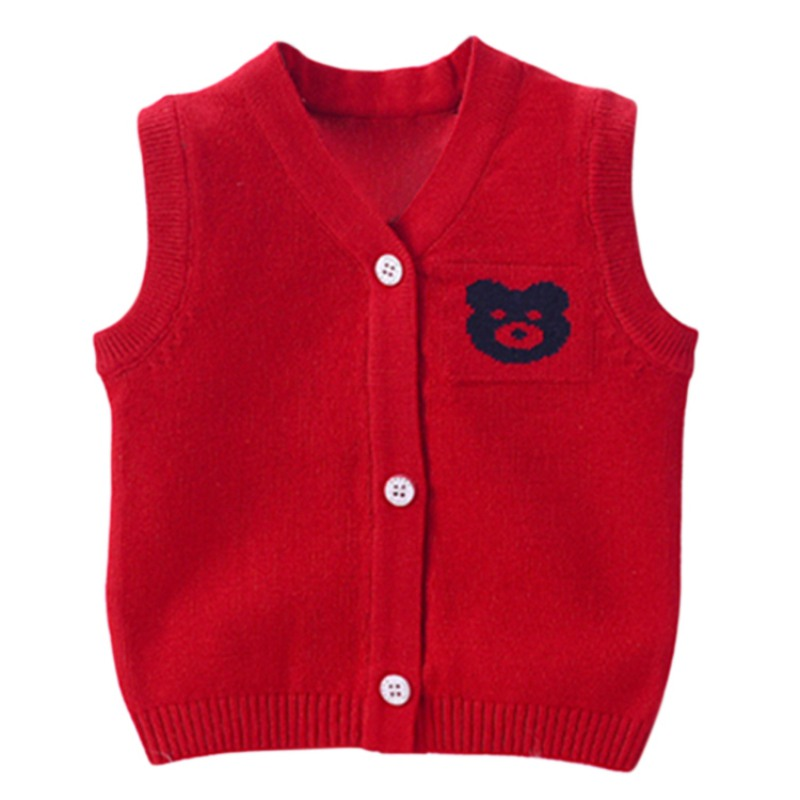 Autumn Winter Newborn Baby Boys Girls Cartoon Knitted Vest Cardigan Coat Infant Top Sleeveless Sweaters Outerwear Clothes Wear