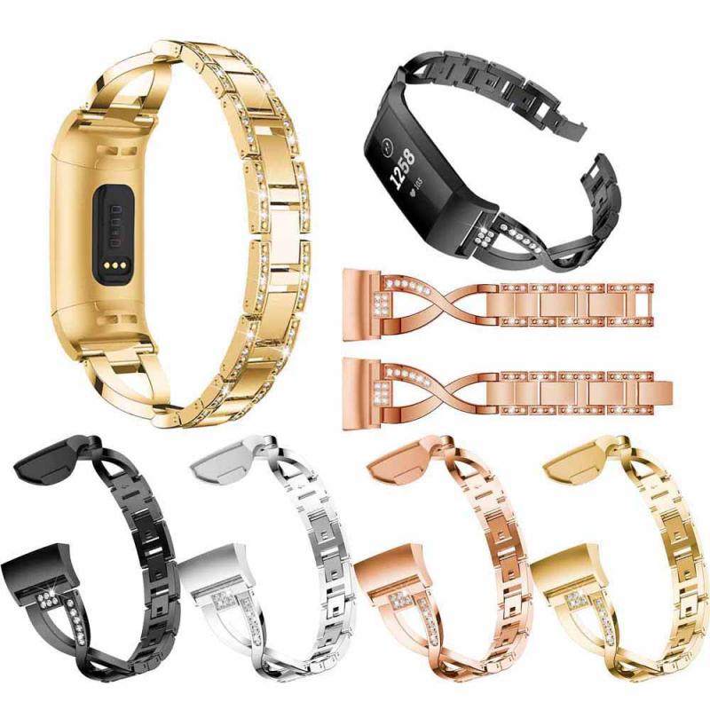5 Colors Rhinestone Diamond Alloy Strap For Fitbit Charge3 X-shaped Classic Jewelry Band Link Belt Smart Watch Accessories