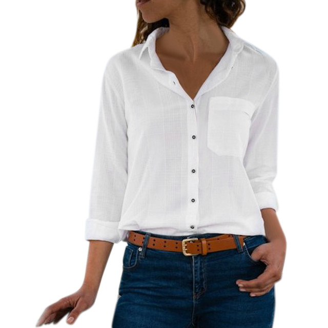 Blusas Femme Long Sleeve Turn Down Collar Tops Blouses Office Lady White Blouse Shirt Women Work Wear Shirts Blouse Plus Size