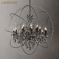 19th Foucault's Orb Crystal Chandelier Lighting Classic Smoke Glass Crystal Hanging Lamp Light Fixture for Living Room Bedroom