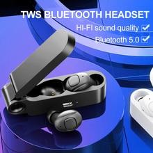 Auricular portátil Bluetooth con Control de botón, auriculares estéreo Binaural con micrófono y caja de carga