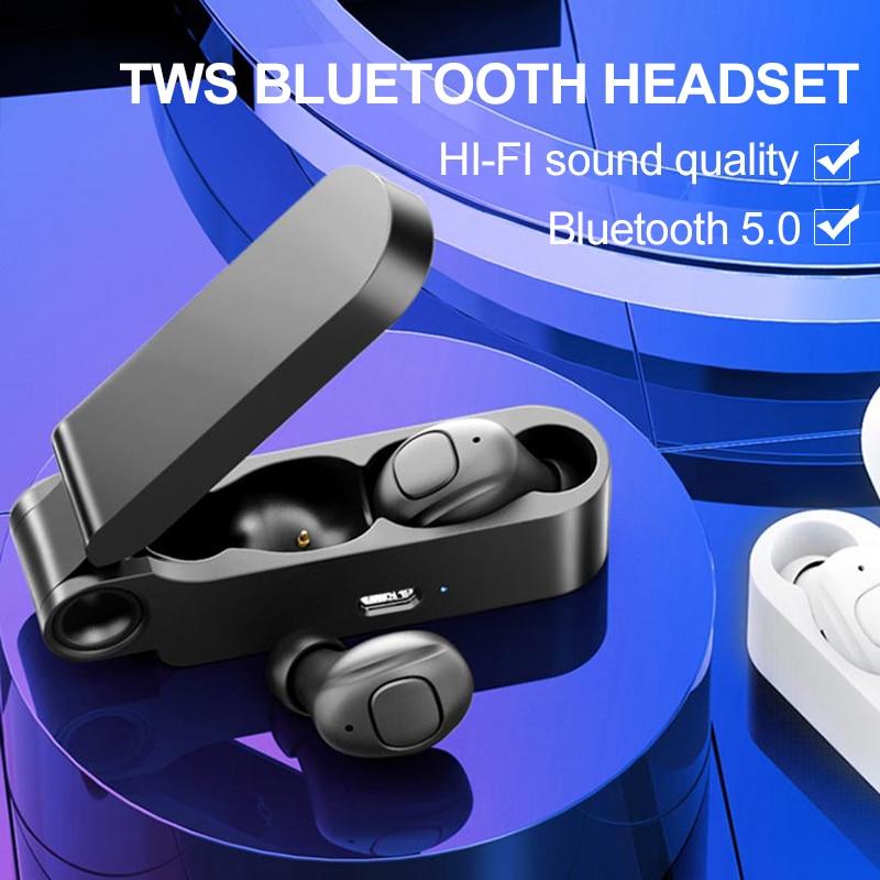 Super Light Portable Bluetooth Earphone Button Control Bluetooth Headset Binaural Stereo Sport Earbuds With Mic Charging BoxBluetooth Earphones & Headphones   -