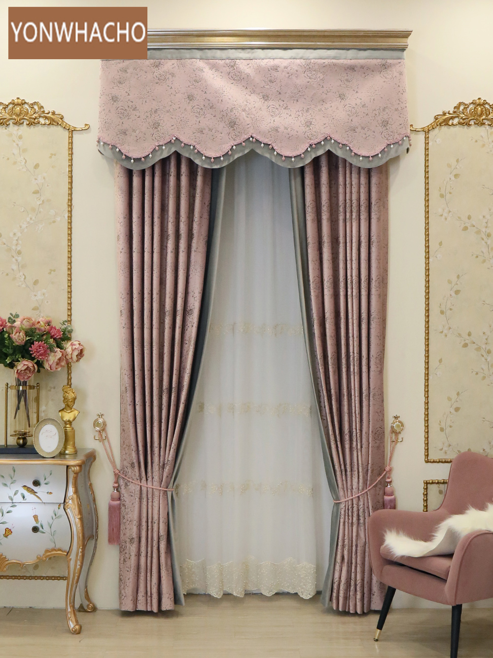 Custom Curtains Warm Pink Korean Pastoral Flannel Upscale Bedroom American  Cloth Blackout Curtain Valance Tulle Panel B556