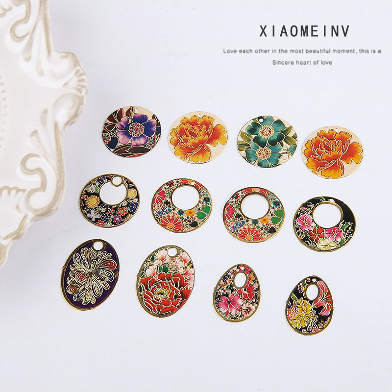 6pcs Chinese Style Antique Folk Flower Pattern Round Pendant Copper Drop Earring For Women Material DIY Jewelry Accessories