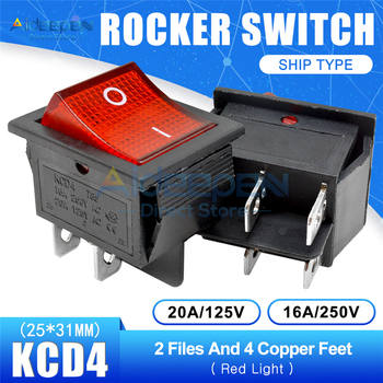 KCD4 Rocker Switch AC 16A/250V 20A/125V ON-OFF 2/3Position 4/6 Pins With Light Power Switch With Dust Waterproof Cap 25x31mm image