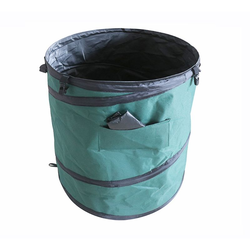 Garden Yard Garbage Bag Folding Oxford Cloth Pop Up Spring Bucket Leaf Storage