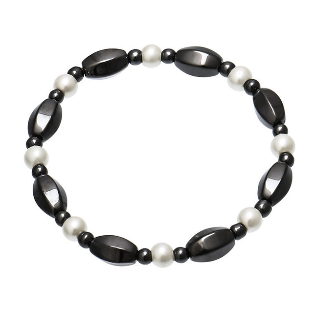 Magnetic Bracelets For Women Weight Loss Round Black Stone Therapy magnet Bracelet Men Health Bracelet Care Hematite Stretch 2