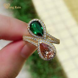 Wong Rain 925 en argent Sterling poire coupe émeraude Morganite pierre gemme mariage luxe 18K bague en or jaune pour les femmes bijoux fins