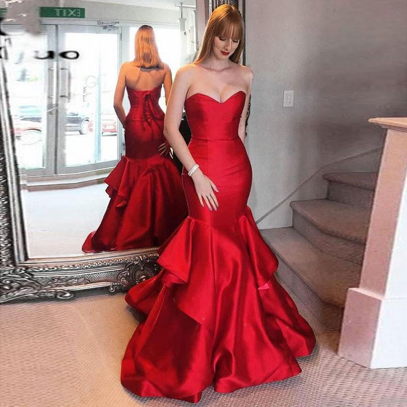 Mermaid Red Satin Strapless Prom Party Evening Dresses Vestido De Noiva Sereia Gown Robe De Soiree Prom Party Draped Lace-up