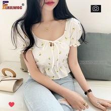 Blouse Shirts Short-Crop-Top Lolita Chic-Tops Waist-Peplum Flower Women Korea Vestido