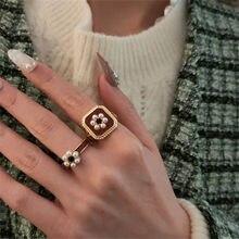 Czarny cyrkon kwiat perłowy pierścień otwierający Vintage moda i elegancki styl pałacowy palec wskazujący damska biżuteria na prezent akcesoria