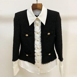 Image 2 - Chaqueta de diseñador de moda para mujer, Chaqueta con botones de León, mezcla de lana satinada, de retales de Tweed y, 2020