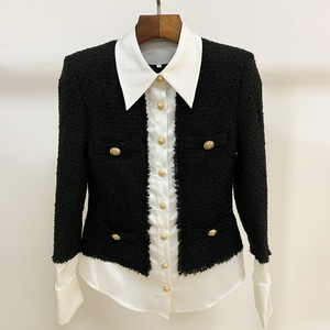 Image 2 - HIGH QUALITY 2020 Newest Fashion Designer Jacket Womens Lion Buttons Satin Wool Blend Patchwork Tweed Jacket