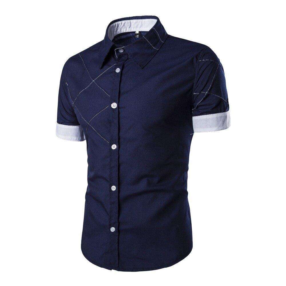 קיץ חדש גברים של מותג האופנה Slim חולצה באיכות גבוהה קצר שרוול פס עיצוב מזדמן טמפרמנט גברים של שמלת חולצה camisa