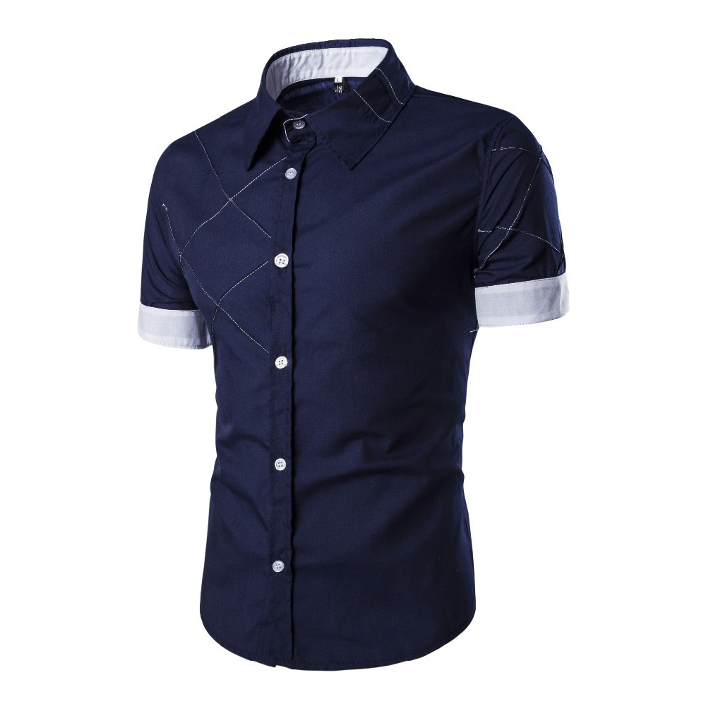 Summer New Men's Brand Fashion Slim Shirt High Quality Short Sleeve Stripe Design Casual Temperament Men's Dress Shirt Camisa