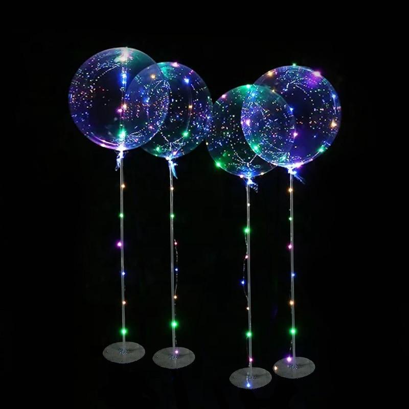 Светодиодные шары с ручкой и палочками, светящиеся Прозрачные гелиевые шары, украшения для свадьбы, дня рождения, вечеринки, Детские светод...