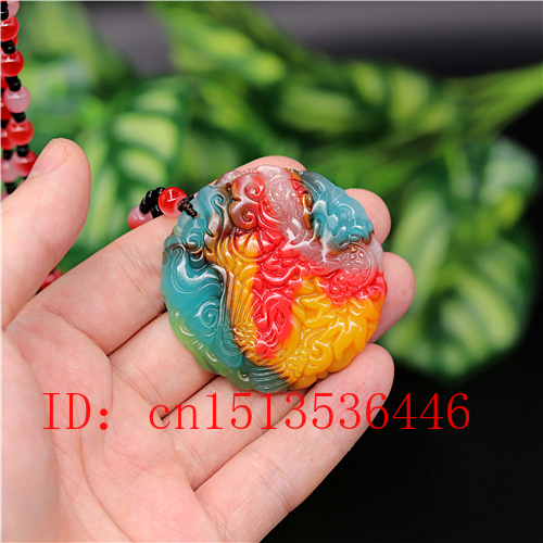 Natural Color Hetian Jade Stone Dragon Phoenix Pendant Necklace Chinese Jadeite Jewelry Charm Amulet Carved Gifts For Women Men