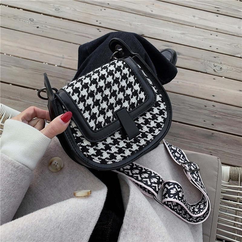 High Grade Sense Thousands of Birds Bag 2019 Autumn & Winter Fashion Korean-style Street Fashion Products Wide-Strap Shoulder Sa