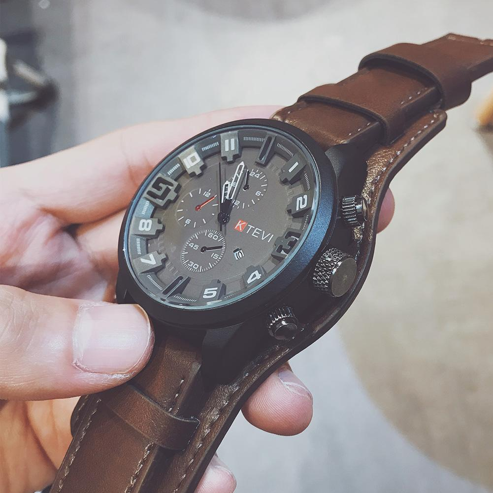 Electronic Dual-layer Dial Watch Adjustable Faux Leather Strap Analog Display Quartz Wrist Watch Men With Large Round Dial Watch