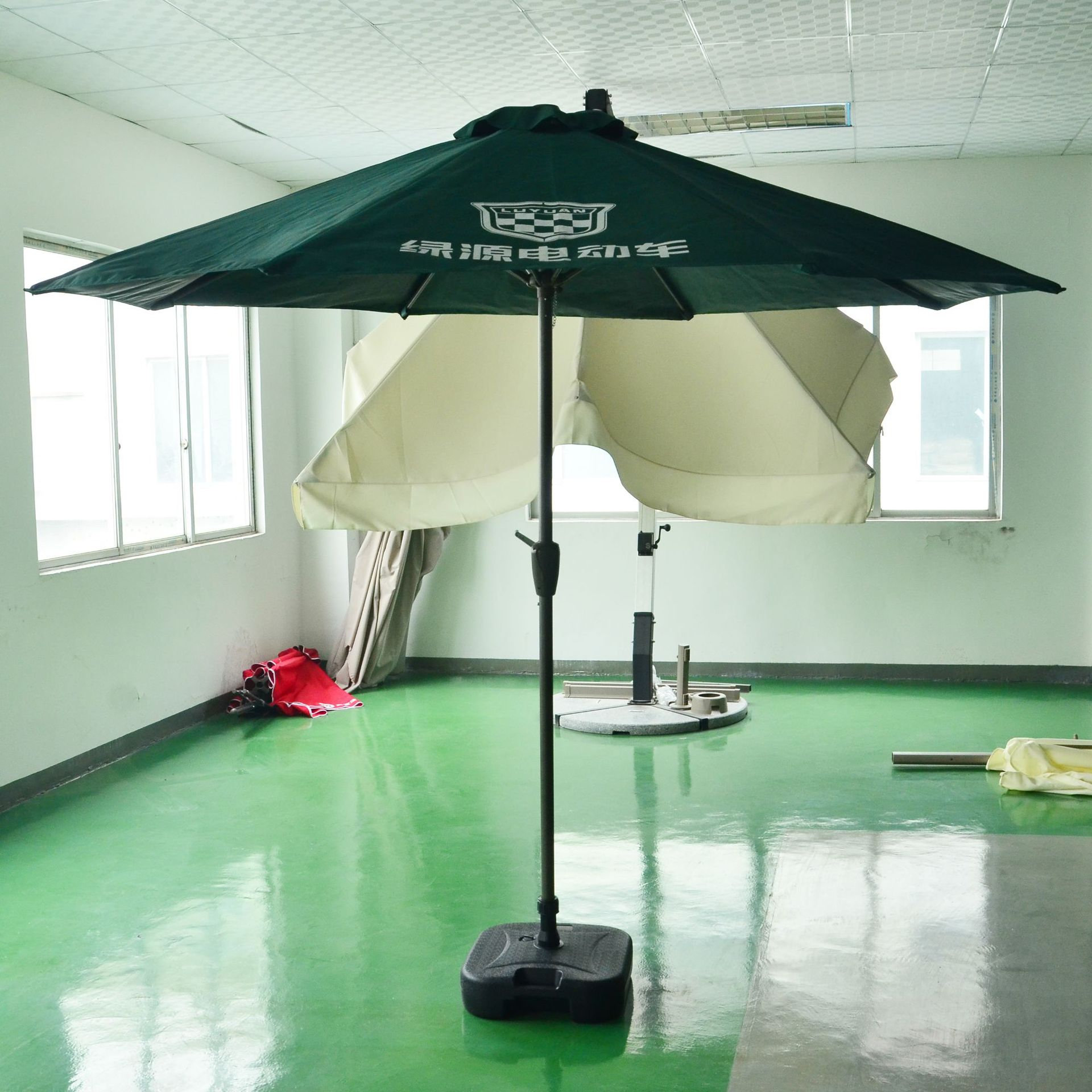 Outdoor E-Bike Advertisement Hand-cranking Center Pillar Parasol Large Parasol Manufacturers Customizable Printing Logo