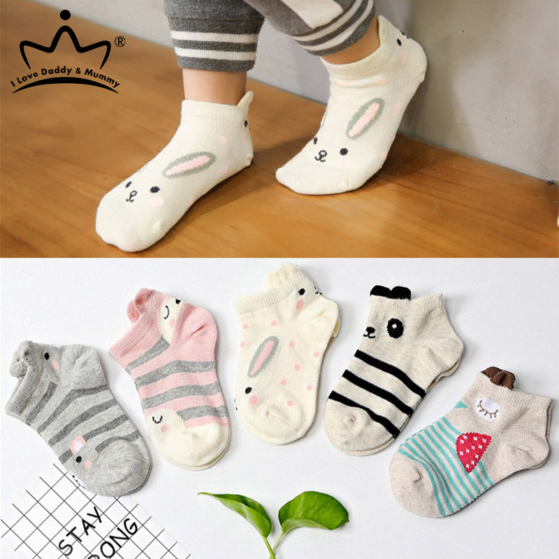 Animal Socks Short Funny Girls Boys Cotton Cartoon Summer Autumn 5-Pairs/Lot Ears