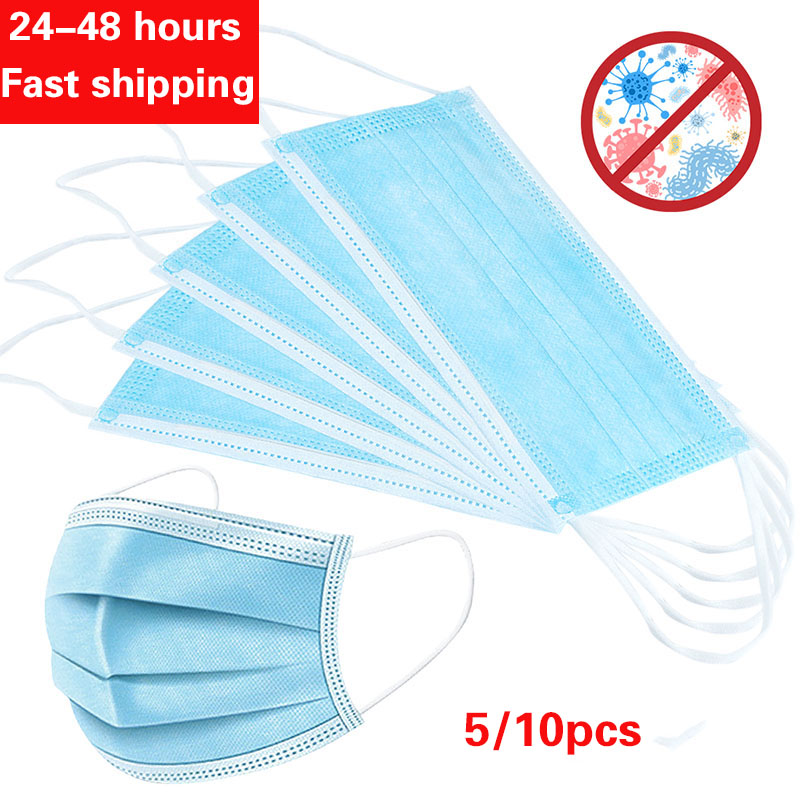 IN STOCK 5pcs/10pcs/bag Non Woven Anti-Dust Safe Breathable Mouth Mask Disposable Ear Loop Face Masks