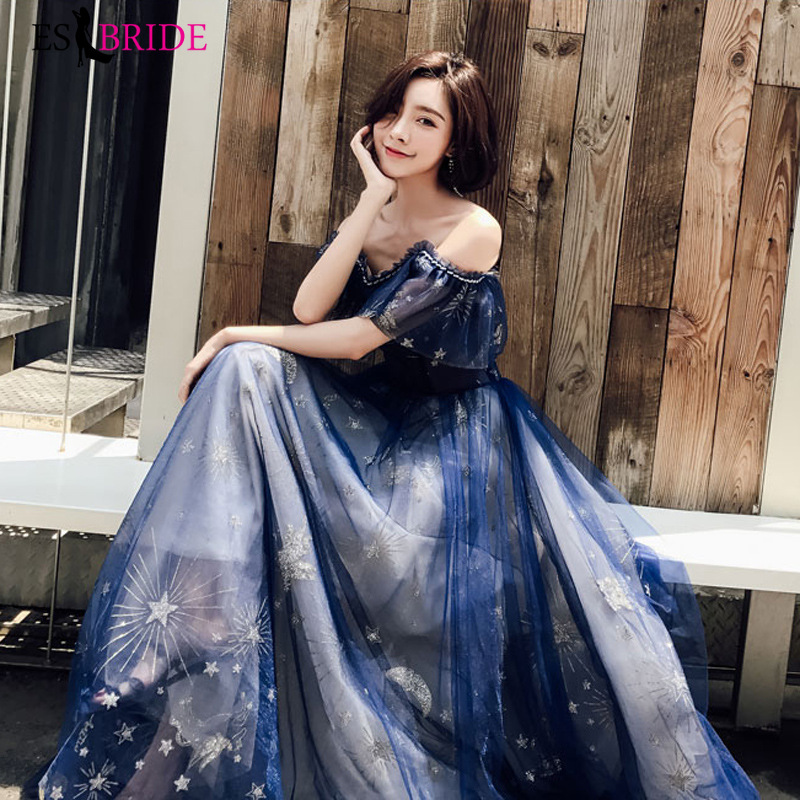 2019 Navy Blue Evening Dresses Long ES30378 A LIne Boat Neck Starry Sky Tulle Party Princess Prom Dress Vestido Largo Fiesta