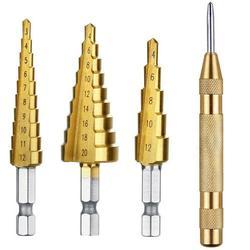4 stücke HSS Stahl Titan Schritt Bohrer 3-12mm 4-12mm Punch Bit Cutt Werkzeuge holzbearbeitung 4-20mm Bohrer Metall Schritt Set Kegel Cent Q6Z7