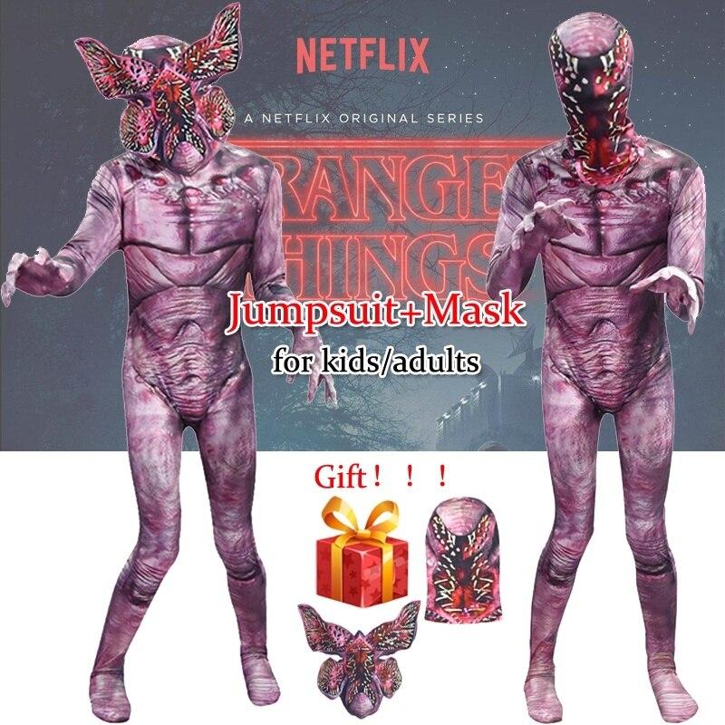 Stranger Things Demogorgon Halloween Cosplay The Monster Costume Kids/adults Halloween Jumpsuit Cosplay Mask Horrible Cosplay