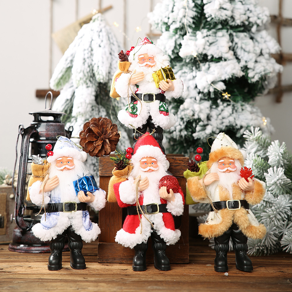 original New Christmas Decoration Resin Santa Claus Standing Stance Small Doll Decoration Doll Pendant