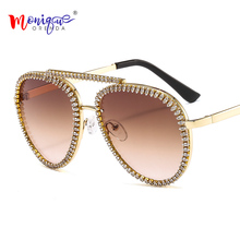 Luxury Crystal Rhinestone Sunglasses Women Fashion Decoration Eyewear Gradient C