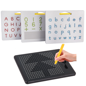 Magnetic Tablet Magnet Pad Drawing Board Steel Bead Stylus Pen Pop Bead Learning Educational Writing Toys for Children Gift(China)