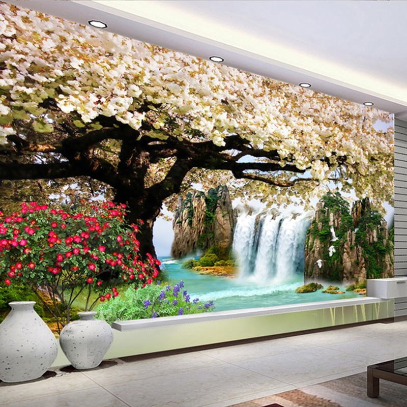 Dropship Custom Any Size Murals 3D Nature Wallpapers Modern Cherry Blossom Tree Waterfalls Landscape Wall Painting Home Decor