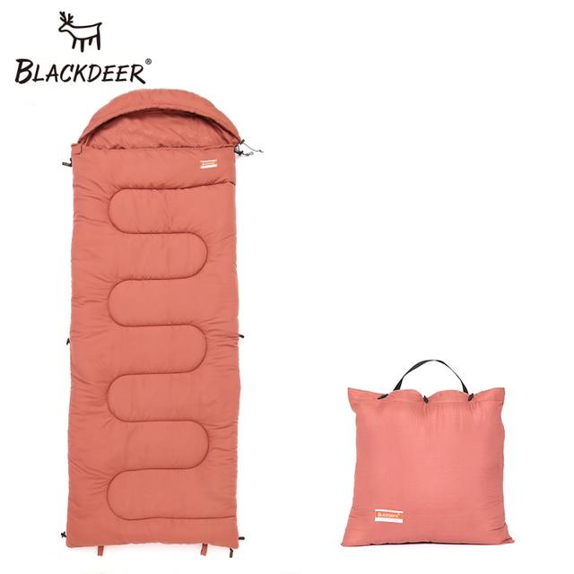 Blackdeer Camping Cotton Splice Sleeping Bag  Season Warm Pillow Hooded Envelope Sleeping Bag for Outdoor Traveling Hiking 2