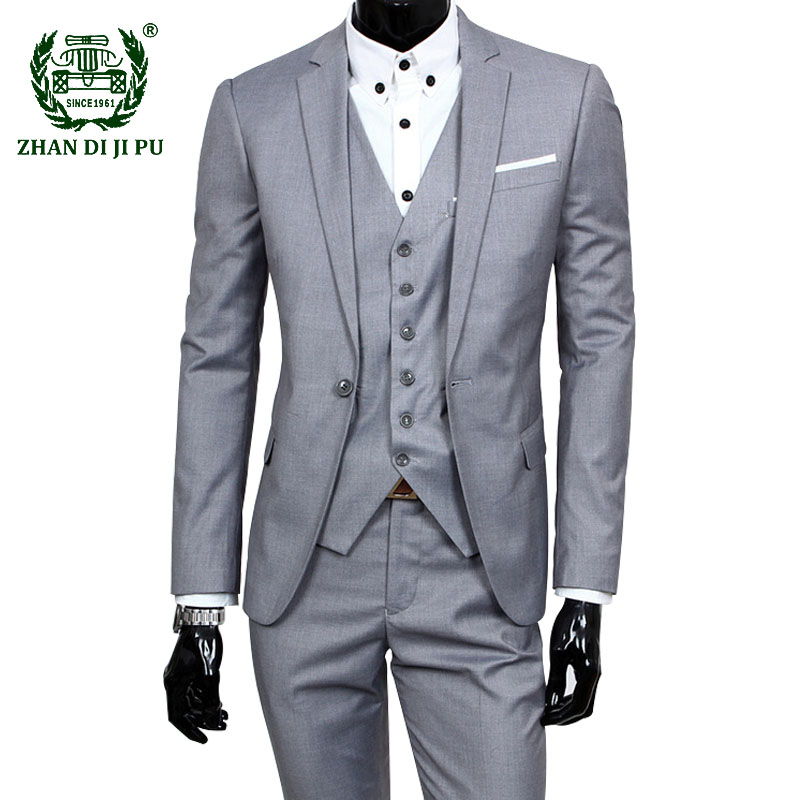 Men's Dress Suits Wedding Prom Slim Fit Tuxedo Men Formal Business Work Wear Suits 3 Pcs Set Plus Size 6XL (Jacket+Pants+Vest)