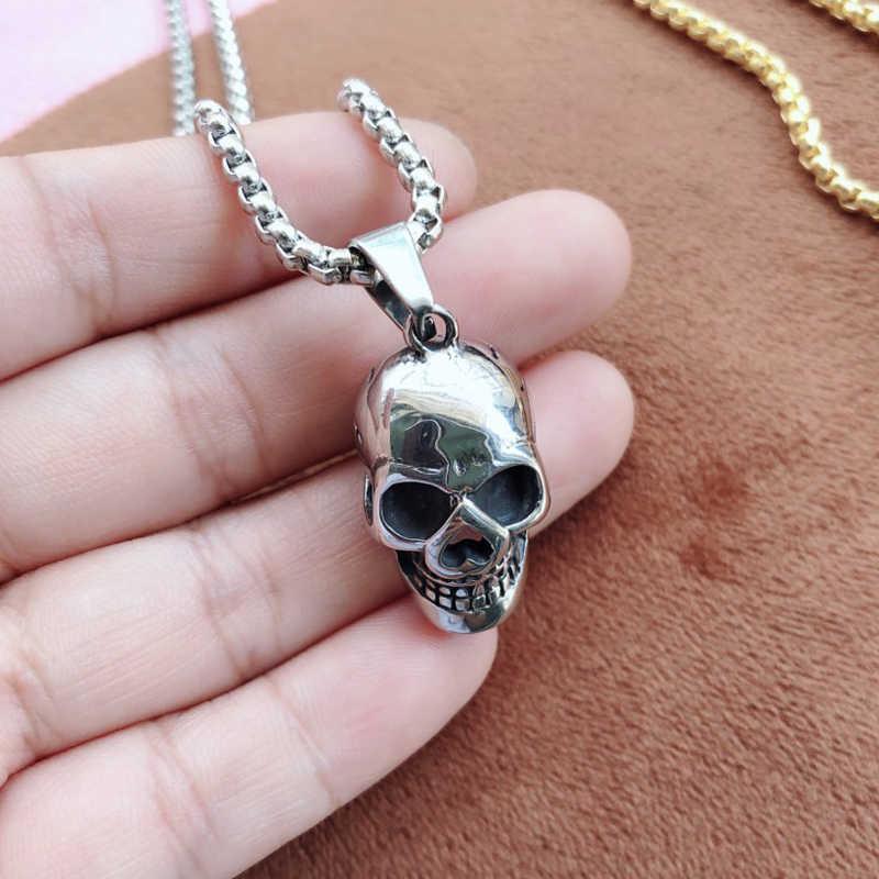 Collar Punk Skull para hombres, joyería de acero inoxidable de moda para niños, Hip Hop, colgante largo gótico, collar a la moda, regalo para fiesta de novio