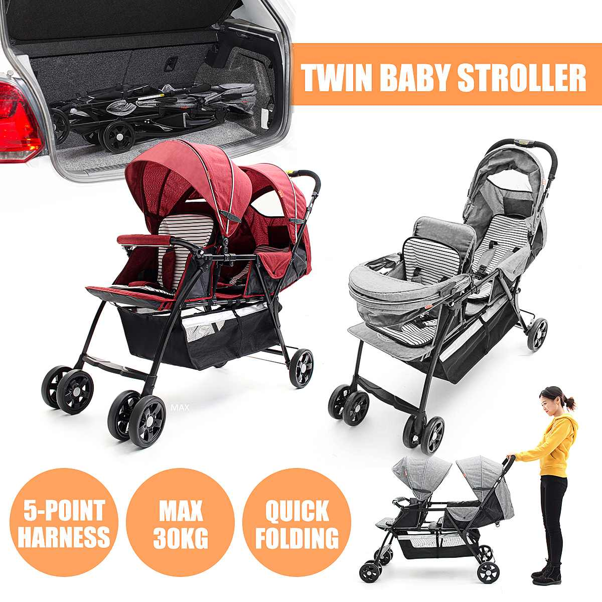 Folding Twin Baby Strollers Lightweight Double 2 Seat Twins Baby Trolley Front And Back Tandem Stroller Car Kid Can Lie Flat image