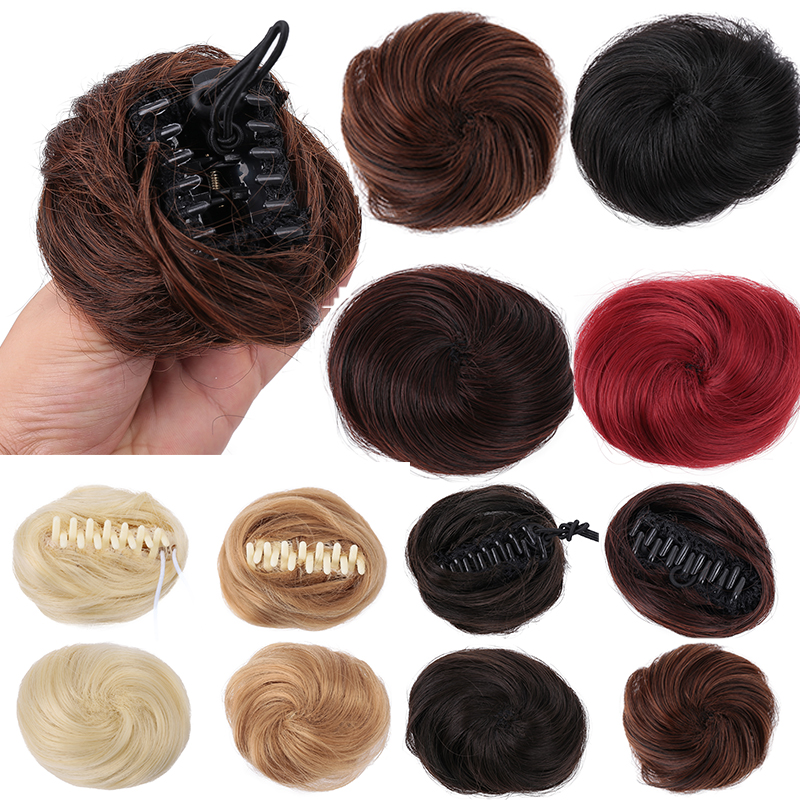 Bybrbana Brazil 100% Human Hair Non-Remy SHair Messy Clip Chignon Donut Gary Brown Color Elastic Hair Rope Rubber Band Hair
