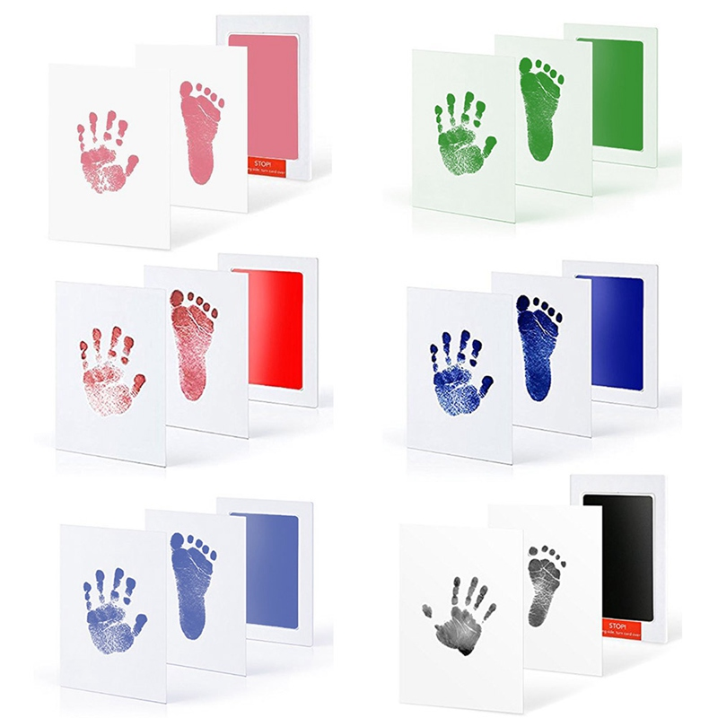 Baby Inkless Safe Clean-Touch Handprint And Footprint Ink Pads 100% Non-Toxic & Mess Footprint Ink Pad For Memory 4 Colors