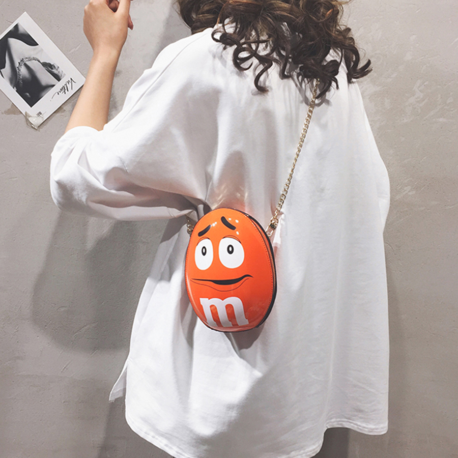Funny Cartoon Character Letter Shoulder Bags Women Chain Round Hand Bags Ladies Creative Pu Messenger Crossbody Bag Female Bag