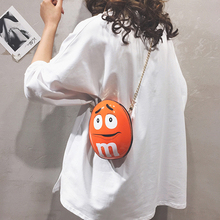 Funny Cartoon Character Letter Shoulder Bags Women Chain Round Hand