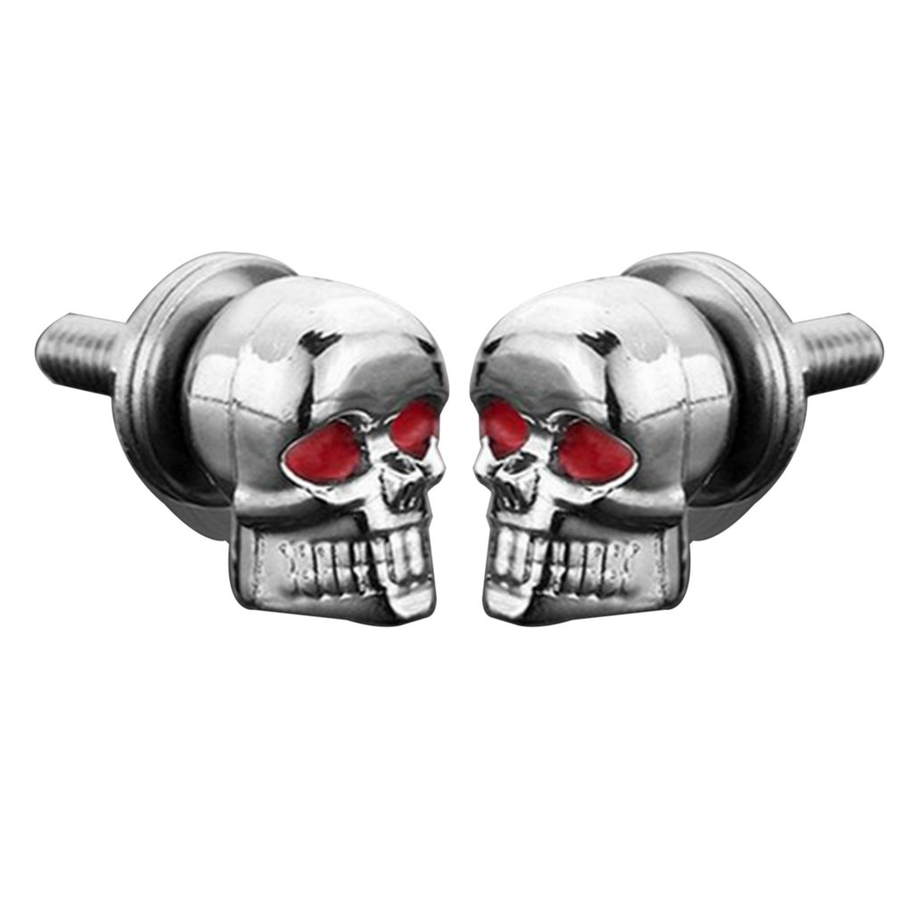 A Pair/Set Motorcycle Car Accessories Skull Decoration License Plate Frame Bolts Screw Fastener for Motorcycle Black/Silver
