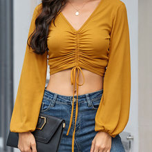 2021 Summer Women Sexy Tops Women's Short T-shirt European and American Women's V-neck Chest Pleated Long-sleeved Bottoming Top
